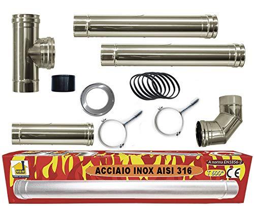 Pelletofen Kit Rohr 80 mm Stahlrohre INOX 316 L 600 ° CE NO beständiges schwarz in Italien hergestellt 1856-2