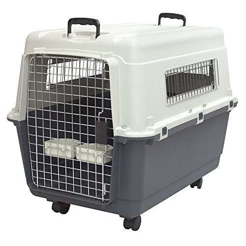SportPet Designs Plastic Kennels Rolling Plastic Wire Door Travel Dog Crate- Large Kennel, Gray