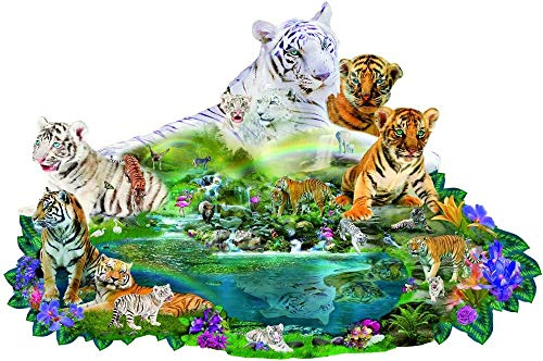 ZWWCJ 1000 Piece Jigsaw Puzzle for Adults and Kids Tigers at The PoolThemes Puzzle Sets for Family, Cardboard Puzzles, Educational Games, Brain Challenge Puzzle for Kids Childrens
