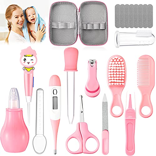 Baby Grooming Kit 20 in 1 Portable Baby Safety Care Set Newborn Nursery Health Care Set Include Hair Brush Comb Nail Clipper Nasal Aspirator Baby Thermometer for Infant Toddlers Kids Keep Clean (Pink)