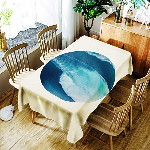Tafelkleed, eenvoudig bedrukte blauwe ronde bal, kreukvrij, rechthoekig eettafelkleed, wegwerpbaar, oliebestendig en hittebestendig 55 x 78 inch