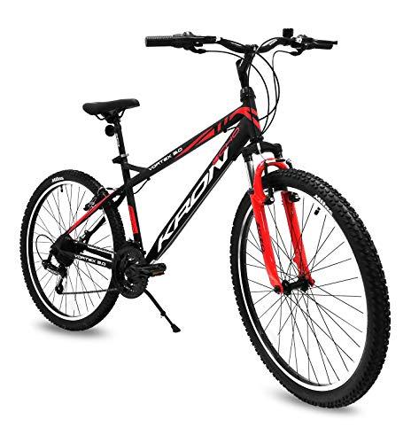 Bicicletta MTB 24'' pollici bici Kron Vortex 3.0 ammortizzata 21 Velocita' Shimano Mountain Bike REVO (Nero - Rosso)