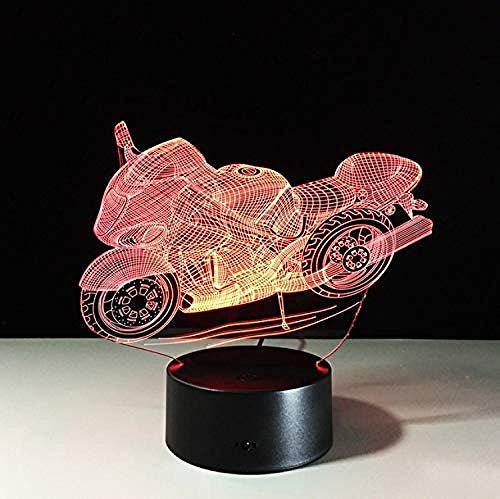 Motorcycle 3D Table Lamp Led Decorative Plexiglas Plate Bedside Nightlight
