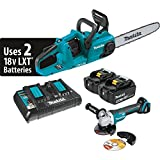 Makita XCU03PTX1 18V X2 (36V) LXT Lithium-Ion Cordless (5.0Ah) and Brushless 14' Chain Saw Kit and Angle Grinder