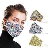 Lot de 3 bandanas réutilisables et résistants pour adultes, respirants et sans couture, motif floral, lavable en bouche.