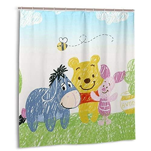 Cartoon Winnie The Pooh Duschvorhang mit Haken Leichtgewichtig Wasserdicht Geruchsneutral Badezimmerdekorationen für Duschen, Stände & Badewannen, Standardgröße 66x72in