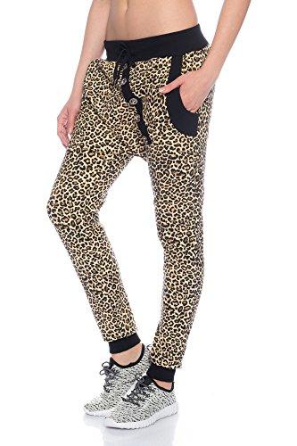 Crazy Age Boyfriendhose Leopard Baggyhose schrägen Knopfleisten Neue Tiger Look Farben Baggy Jogginghose Sporthose Freizeithose SweatpantsPants Fitnesshose RT 2854 CAM (S, Leopard)
