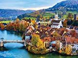 300 Large Piece Puzzle for Adults: Swiss River Village Jigsaw Puzzle