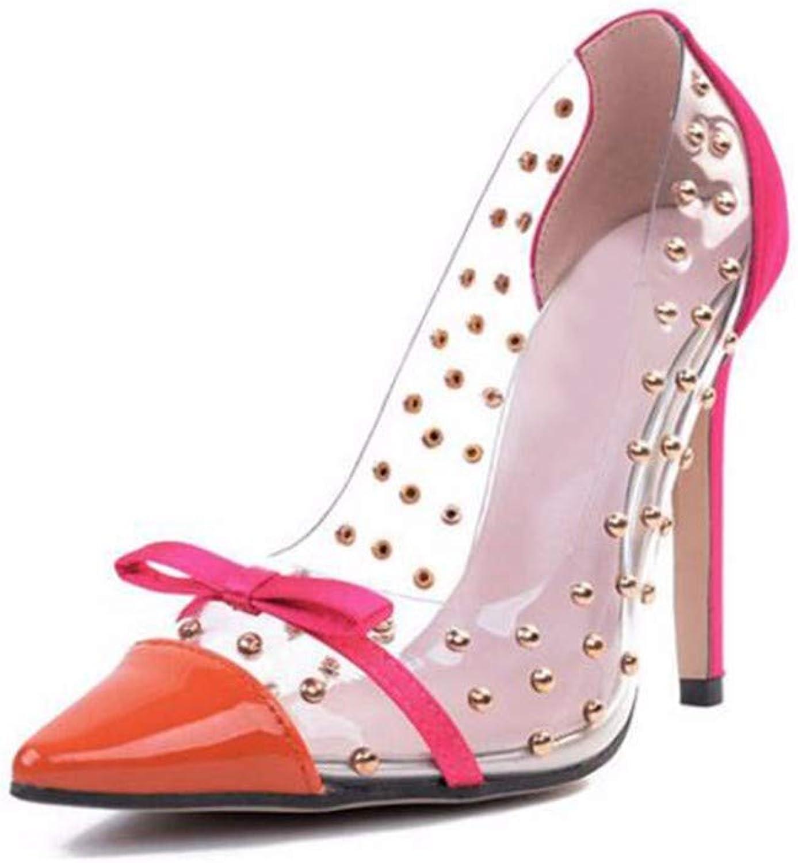 Frauen mit einem Schuh spitz durchsichtige, Flache Schuhe mit hohen Abstzen