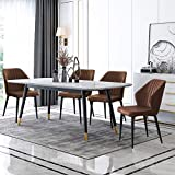 TUKAILAI Juego de 4 sillas de comedor para cocina salón ocio sala de estar esquina piel sintética color marrón para recepción marrón