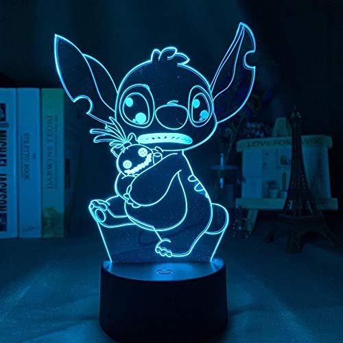 Lámpara de ilusión 3D Luz de noche LED Puntada de bebé Abrazo Scrump Decoración de dormitorio para niños Colorido Lilo y Stitch Regalos de vacaciones para niños