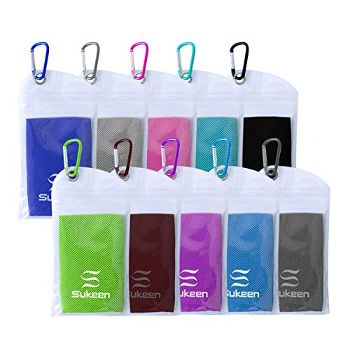 """[10 Pack] Cooling Towel (40""""x12""""),Ice Towel,Soft Breathable Chilly Towel,Microfiber Towel for Yoga,Sport,Running,Gym,Workout,Camping,Fitness,Workout & More Activities"""