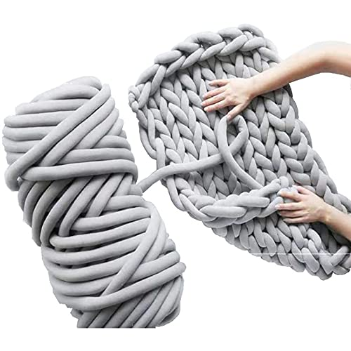Hilado súper grueso Vegan, acrílico grueso Roving lavable, DIY gigante voluminoso gran brazo punto extremo para hacer mantas hechas a mano alfombras (1kg,Grey)