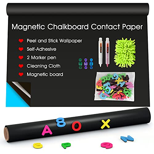 AkTop Magnetic Chalkboard Contact Paper for Wall, 40 x 17.3 Black Self Adhesive Chalk Board Wallpaper Sticker, Removable Large Blackboard Vinyl Paper with 46 Magnetic Letters for Kids