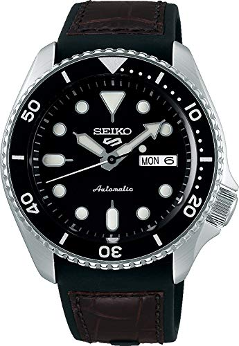 Seiko 5 Specialist Herren-Uhr Edelstahl mit Band aus Leder und Silikon SRPD55K2