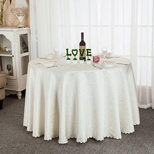 Nappes Nappe ronde, Restaurant de l'hôtel Table basse Table à manger Nappe à la table ronde Salon de la salle à exposer Nappe or / blanc ( Couleur : Blanc , taille : Round-320cm )