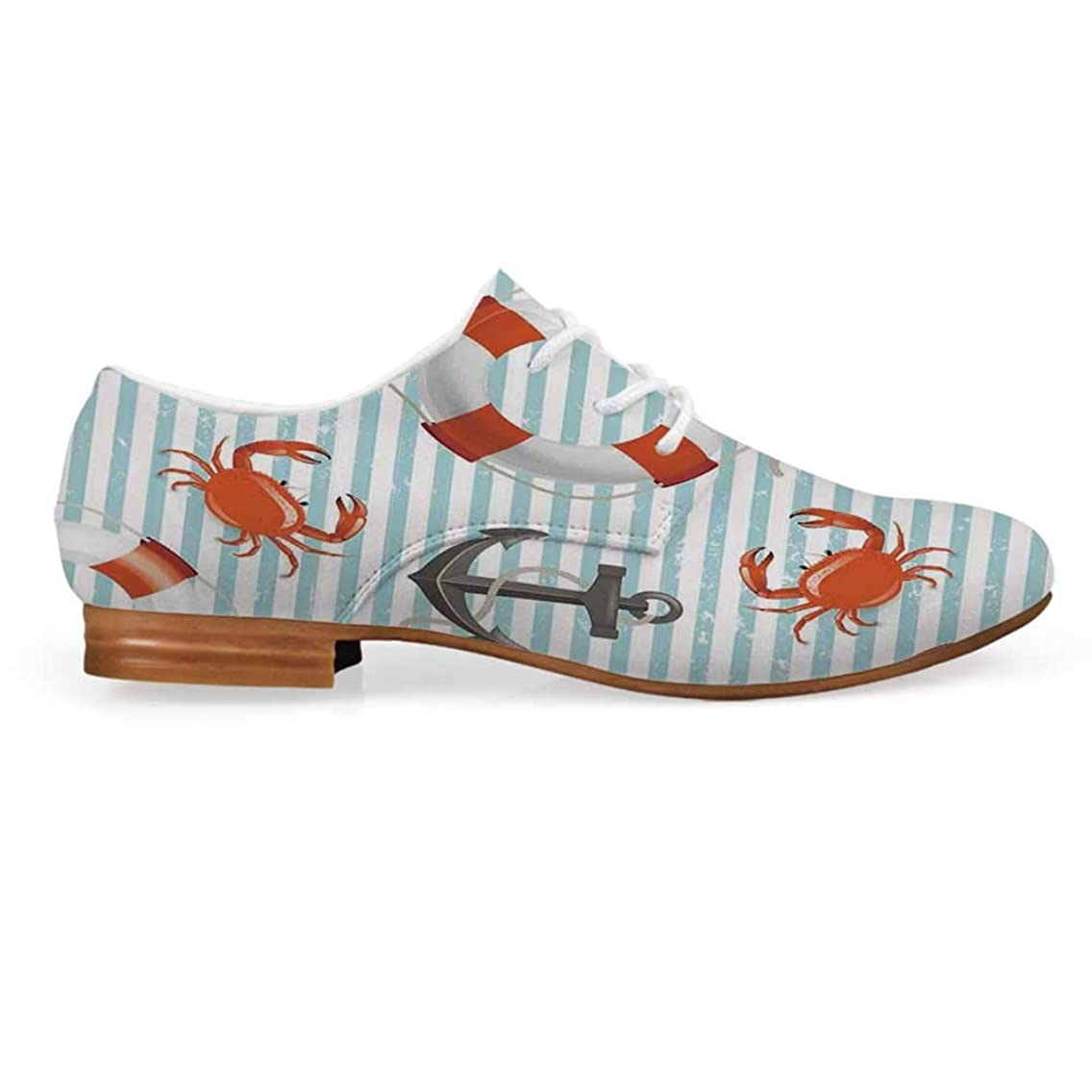 Nautical Leather Lace up Oxfords Shoes,Life Rings Anchor and Ropes Ocean Crabs Coastal Theme Teal Striped Print Bootie for Girls ladis Womens