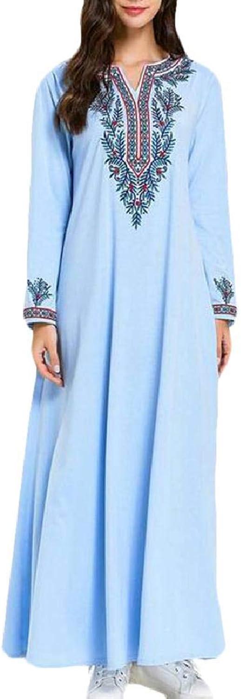 Nanquan Women Kaftan Dubai Embroidery Ramadan Muslim Long Sleeve Maxi Dress