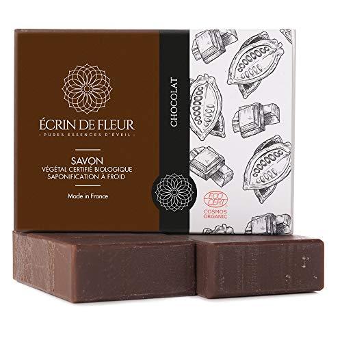 Écrin De Fleur | Jabón de Chocolate | Certificado Orgánico | Hecho a Mano en Francia con Manteca de Cacao | 100% Ingredientes Naturales | Saponificación en Frio | sin Aceite de Palma | 2 x 100g