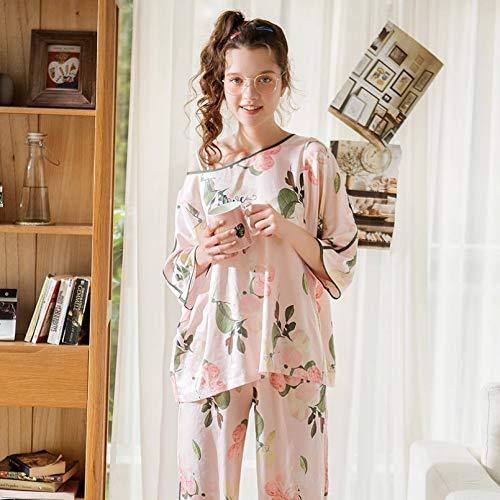 FLORVEY Pijama Pijamas de Mujer Nuevo Traje de Dos Piezas con Estampado de Fresa Pantalones de otoño Trajes Ropa de Dormir Suave de algodón Suelto