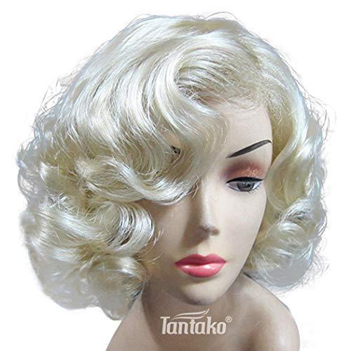 TANTAKO® Marilyn Monroe Perücke Perücke Kurze Lockige Hellblonde Synthetische Perücke für Frauen Halloween Cosplay und Tägliches Kostüm mit Perücke Kappe