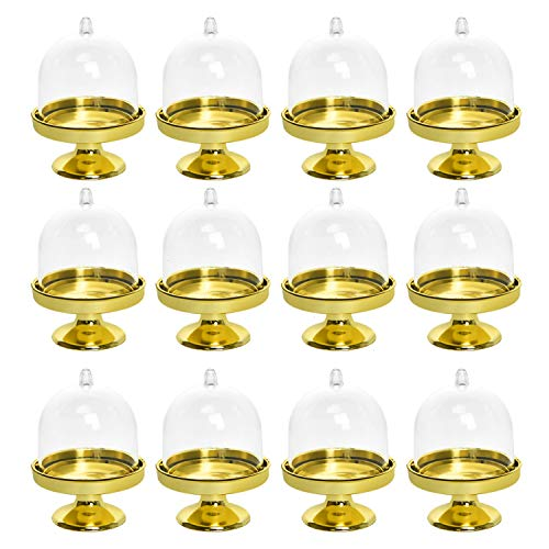 Vumdua Mini Cake Stand, 12Pcs Plastic Mini Cake Plate Stand Dome Cover Mini Cake Box for Small Cupcakes, Desserts and Candy Display (Golden Base)