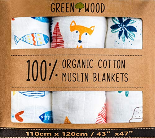 Muslin Swaddle Blankets - 100% Organic Cotton - 3 pack 47' x 43' Ultra Soft and Hypoallergenic - Best Baby Shower Gift