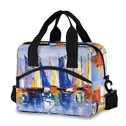 Bolsa de almuerzo aislada reutilizable refrigerante – pintura al óleo barco lonchera ajustable correa para el hombro para la escuela, oficina, picnic, adultos, hombres y mujeres