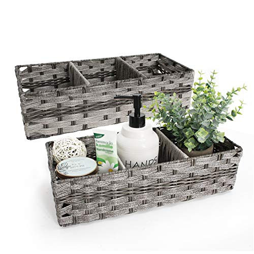 Unistyle Toilet Paper Basket Storage Basket for Toilet Tank Top Bathroom Storage Organizer Open Storage Bin Decorative Basket for Bathroom 2 Pack,Grey