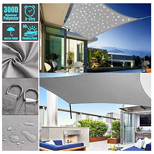 Sonnensegel Mit LED Beleuchtung Licht, Wasserdicht Polyester Oxford Stoff Mit 95% UV-Block Markisen Für Draußen Terrasse Balkon Und Garten (Graues, Rechteckig),3X5m