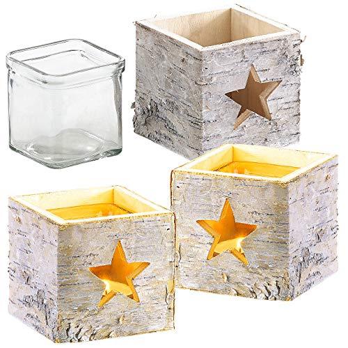 Britesta Weihnachtsdeko Windlicht: 3er-Set Windlichter, Holz, Stern-Motiv, herausnehmbares Teelicht-Glas (Tischwindlichter)