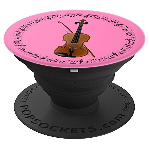 Violin Player Violinist Gift - Music Notes in Circle - Pink PopSockets Grip and Stand for Phones and Tablets