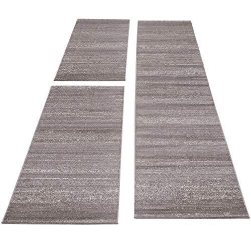 SIMPEX Bettumrandung Läufer Teppich Kurzflor Einfarbig Läuferset 3 teilig Schlafzimmer Flur Meliert Beige, Bettset:2x80x150+1X80x300