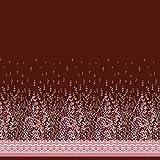 Soimoi Rot Baumwoll-Voile Stoff Damast & Blätter Platte