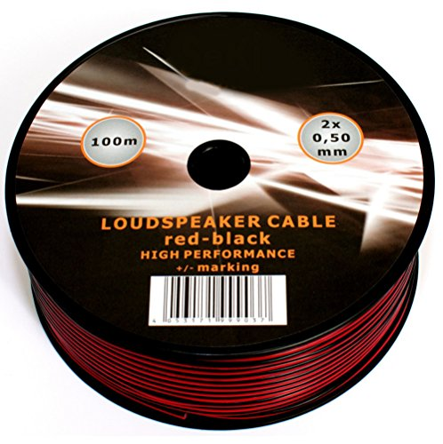 100m of Black Red Speaker Cable 20AWG 2x0.5mm by Mkshopuk Surround Sound Hifi Car Audio System