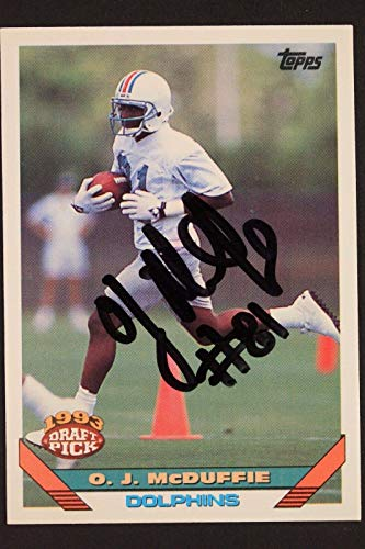 OJ McDuffie Dolphins Penn St Autograph 1993 Topps #326 Signed NFL Card 16J