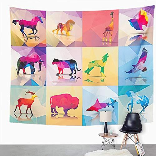Y·JIANG Tapiz geométrico de animales poligonales, jirafa de caballo, león, mariposa, elefante, leopardo, lobo, hogar, dormitorio, tapiz grande, para colgar en la pared, 203 x 152 cm