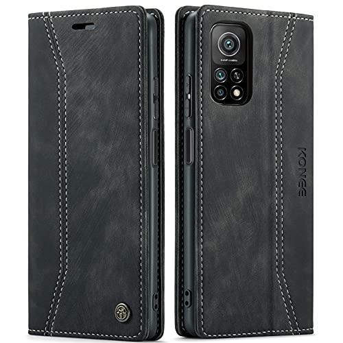KONEE Hülle Kompatibel mit Xiaomi Mi 10T / 10T Pro 5G, Lederhülle PU Leder Flip Tasche Klappbar Handyhülle mit [RFID Schutz] [Ständer Funktion], Schutzhülle für Xiaomi Mi 10T / 10T Pro 5G - Schwarz