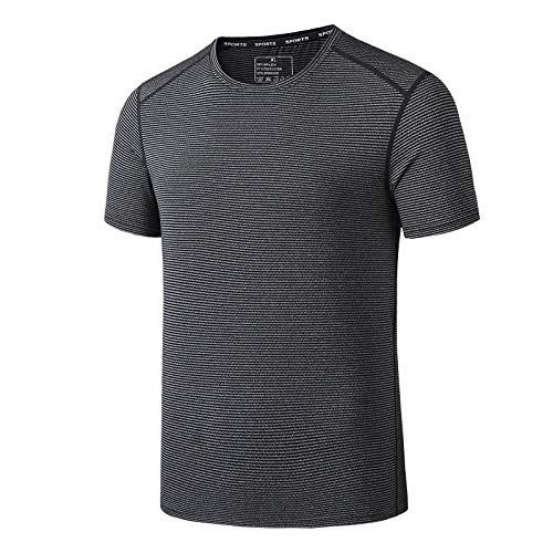 JRKJ Foundation Short Sleeve Tee,Elastisches, Kurzärmeliges, Schnell Trocknendes Outdoor-Sport-T-Shirt Für Herren, Atmungsaktives, Schnell Trocknendes Fitness-Kletterhemd - Schwarz / Grau_L