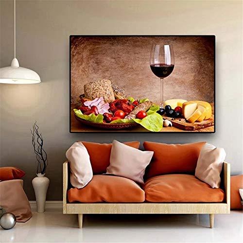 5D DIY Pintura Diamante Kit Grande Completo Adultos/Niños Cocina de vino tinto Diamond Painting Bordado Punto de Cruz Rhinestone Arts Crafts, para decor de la pared del hogar Round drill,60x80cm