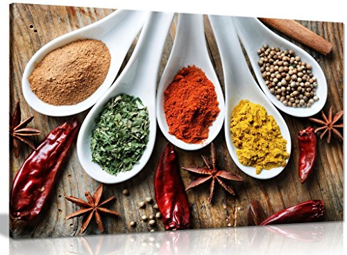 Spices On Table Food Kitchen Canvas Wall Art Picture Print (30x20in)