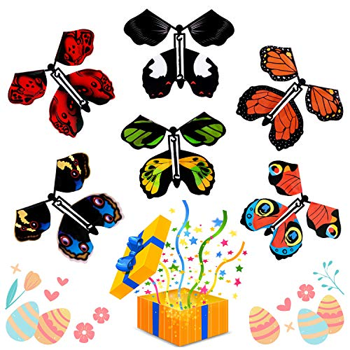 HLAA Magic Fairy Flying Butterfly - Rubber Band Powered Wind up Magical Butterfly Toy, Easter Spring Card Birthday Surprise Gift or Butterfly Cards Surprise Party Playing (6PCS)