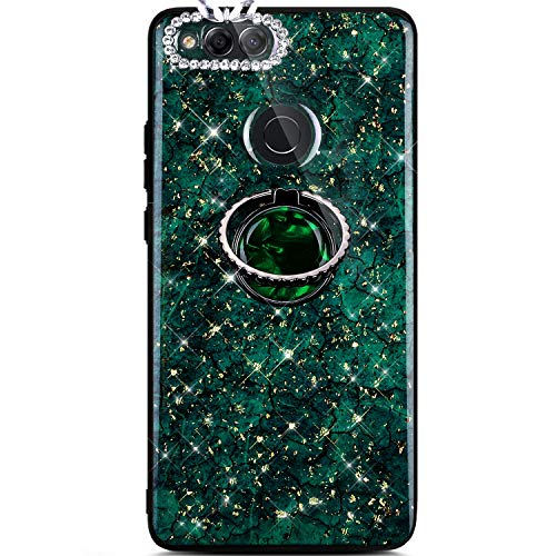 Jinghuash Kompatibel mit Huawei Honor 7X Hülle Silikon mit 360 Grad Runde Ring Ständer Glänzend Kristall Glitzer Diamant Strass Ultradünn Weiche TPU Silikon Handyhülle Schutzhülle-Grün