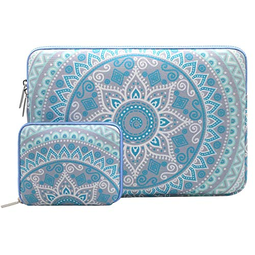 MOSISO Laptop Sleeve Compatible with 13-13.3 inch MacBook Pro, MacBook Air, Notebook Computer, Mandala Pattern Bag Cover with Small Case, Mint Green&Blue