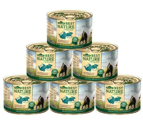 Dehner Best Nature kattenvoer voor volwassenen, hartjes en konijnen, 6 x 200 g (1.2 kg)
