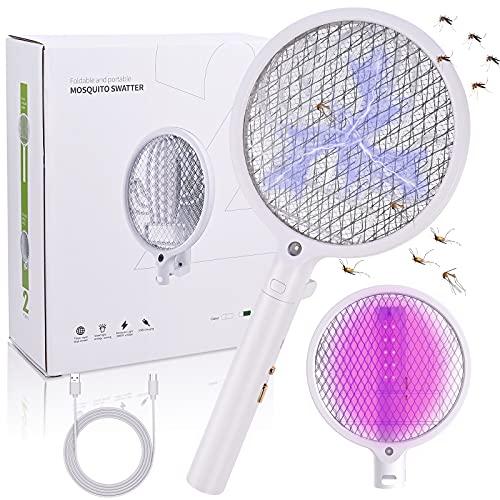 Cieex Elektrische Fliegenklatsche, 2 in 1 Faltbare Elektrische Fliegenfänger Wiederaufladbare Fliegenklatschen mit Lila Licht für Kontrollieren Effektiv Mücken