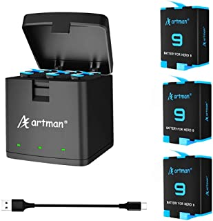 Artman 3-Pack Replacement Batteries and 3-Channel USB Storage Quick Charger for Hero 9 Black, Fully Compatible with Hero 9...