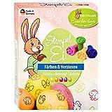 Eierfarben HEITMANN Eierfarben Oster Stempelei - 5 flüssige Eierfarben 4 Stempel Stempelkissen Erdnussöl Handschuhe - Ostern Ostereier dekorieren