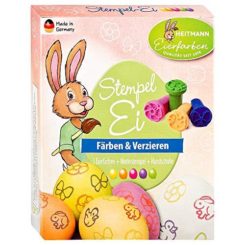 Heitmann Eierfarben Oster Stempelei - 5 flüssige Eierfarben, 4 Stempel, Stempelkissen, Erdnussöl, Handschuhe - Ostern, Ostereier dekorieren