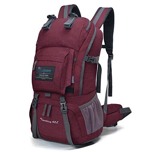マウンテントップ(Mountaintop) アウトドア バックパック 登山リュック 40L 大容量 リュックサック 登山用バッグ ハイキングバッグ 防水 レインカバー付き (フクシャ40L)